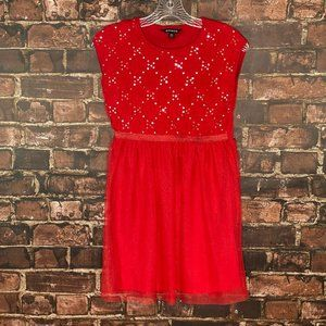 George Red Party Dress With Sequin